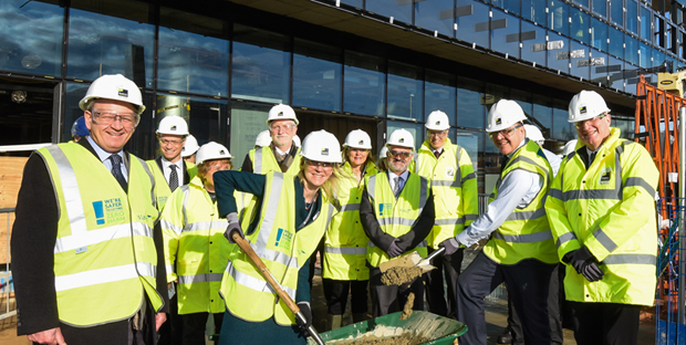 John Fry, Chairman, NNUH; David Mann, QI Project Director; Sally Ann Forsyth, CEO, NRP; Dylan Edwards, UEA; Laura Knight, IFR; Neil Ward, Deputy Vive-Chancellor, UEA; Nick Goodwin, QI Programme Manager; George Freeman MP; Ian Charles, Director, IFR