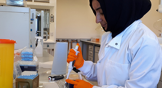 Miss S. Abrar analysing samples at QIB, Sept. 2018